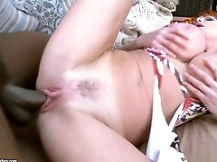 Ample Jugs Ginger-haired Gets Her Cunt Demolished By A Black Lollipop