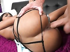With Round Bootie And Hairless Cunt Needs Nothing But Her Mans Hard Sausage In Her Mouth To Get Satisfaction