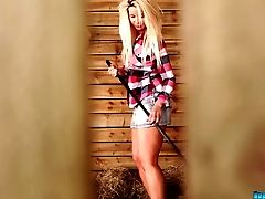 Country Woman Sky Cleaning In A Warehouse All Naked