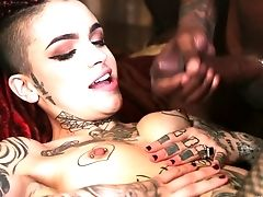 Big Black Cock Fucks Extravagant Tattooed Bi-atch Leigh Raven And Cums On Her Tits