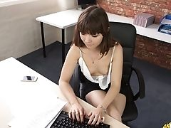 Bored And Lonely Office Damsel Helen Milky Flashes Her Pallid Diminutive Tits