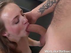 Smiling Green Eyed Gal Lady Bukk Takes Jizz-shotgun In Creamy Gash For Rear End Fuck