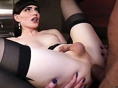 Svelte Pallid Brown-haired She-creature Natalie Mars Gets Analfucked Missionary