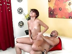 Black-haired Tessa Arias Lets Fellow Stick His Thick Ram Cane In Her Mouth